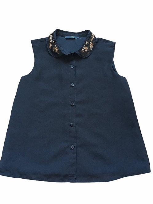 George 8-9 years Black Sleeveless Top with Sequin Collar
