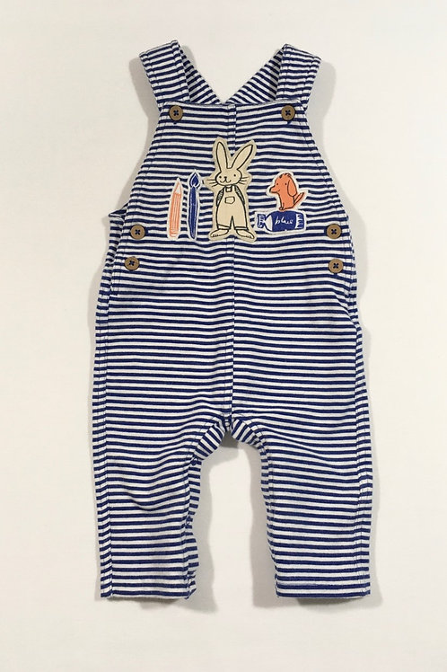 M&S 3-6 months Blue and White Striped Dungarees