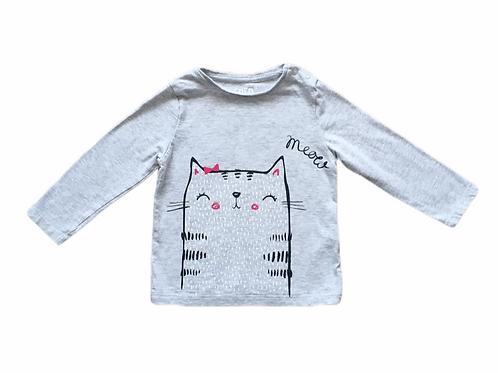 F&F 9-12 months Grey Long Sleeve Cat Top