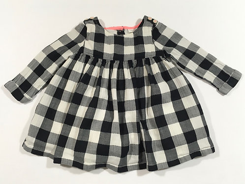 Next 3-6 months Black and White Check Long Sleeve Dress