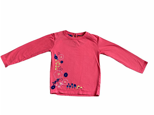 Brand Unknown 3-4 years Coral Floral Embroidered Long Sleeve Top