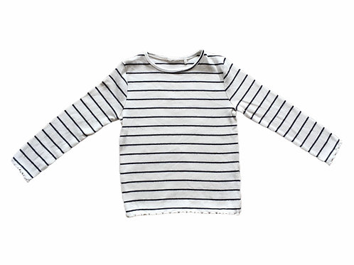 Ex Chain Store 2-3 years White and Charcoal Striped Top - BRAND NEW