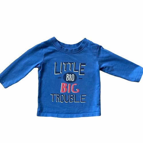 George 3-6 months Little Bro Blue Long Sleeve Top