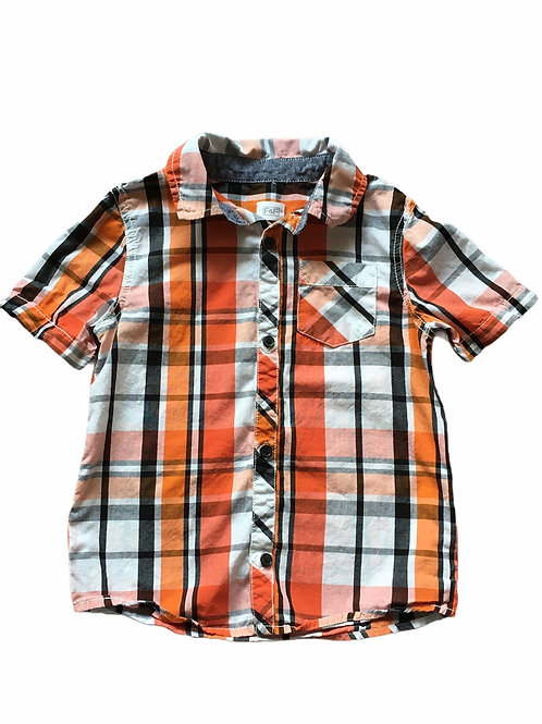 F&F 5-6 years Orange, White and Black Checked Shirt
