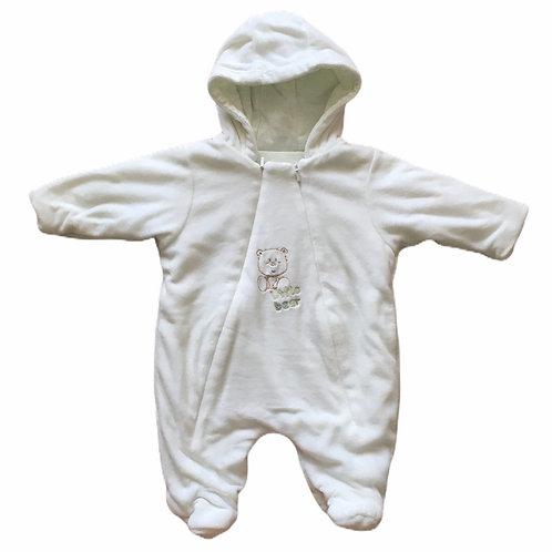 Mothercare Newborn White Velour Pramsuit