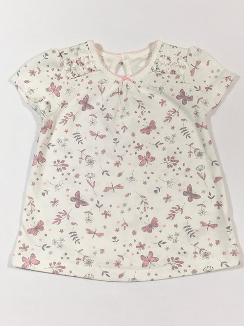 George 3-6 months White T-shirt with Butterflies and Flowers