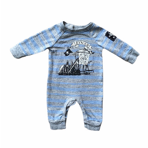 0-3 months Blue and Grey Striped Pirate Romper