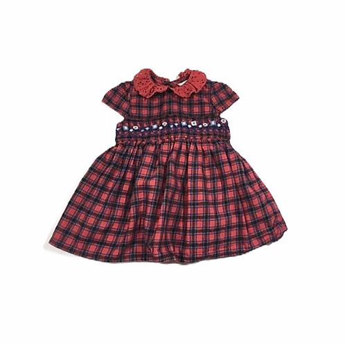 M&Co. 0-3 months Red Check Smock Dress with Lacce Collar