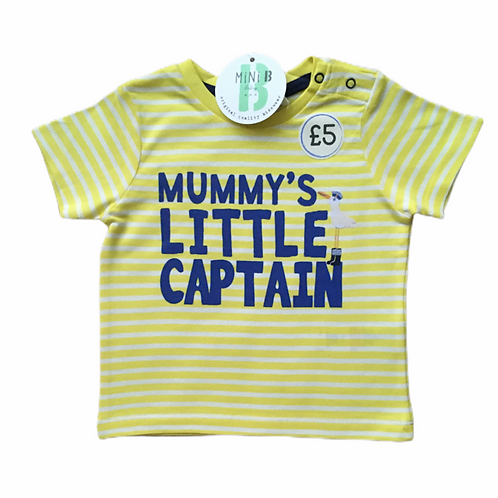 BHS 18-24 months Yellow Striped 'Mummy's Little Captain' T-shirt – BRAND NEW
