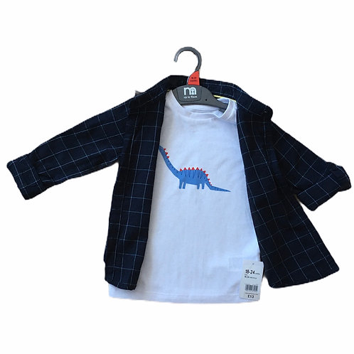 Mothercare 12-18 months Dinosaur T-shirt and Checked Shirt Set - BRAND NEW