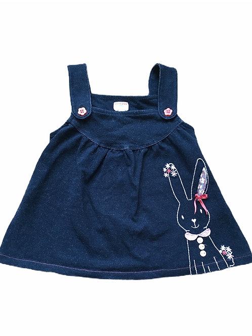Bluezoo 3-6 months Light Denim Rabbit Pinafore Dress