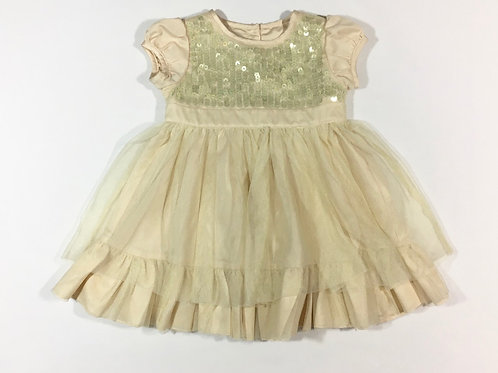 M&S 6-9 months Pale Gold Party Occasion Dress with Sequins and Sheer Overlay