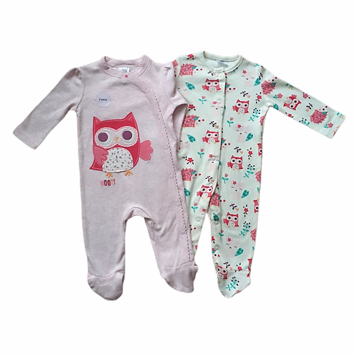 F&F 0-3 months 2 x Owl and Hedgehog Sleepsuits - BRAND NEW