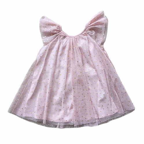 Baby Gap 6-12 months Dusky Pink with Gold Stars Floaty Dress