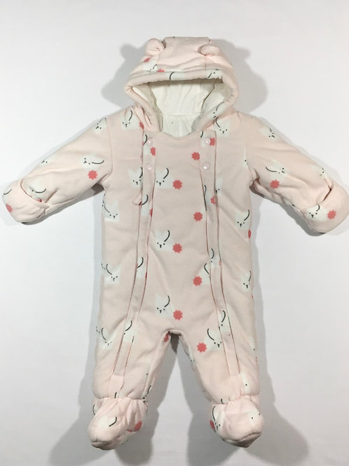 M&S 6-9 months Pink Bunny Rabbit Fleece Pramsuit (Small hole in lining)