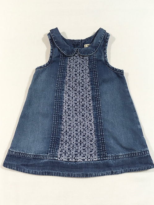 Next 3-6 months Sleeveless Denim Dress with Lace Front Panel