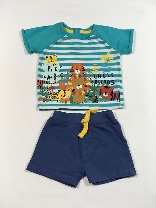 Peacocks 3-6 months Jungle T-Shirt and Shorts