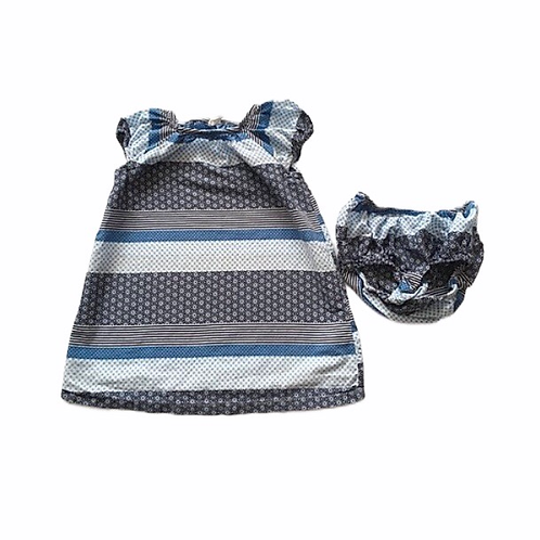 H&M 9-12 months Blue Patterned Sleeveless Dress with Nappy Cover