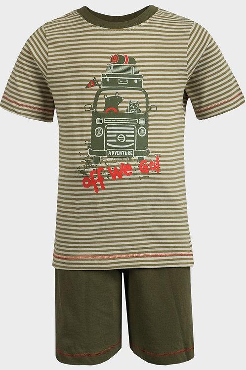 Ex Chain Store 9-12 months Khaki Stripe 100% Cotton Pyjama Set - BRAND NEW