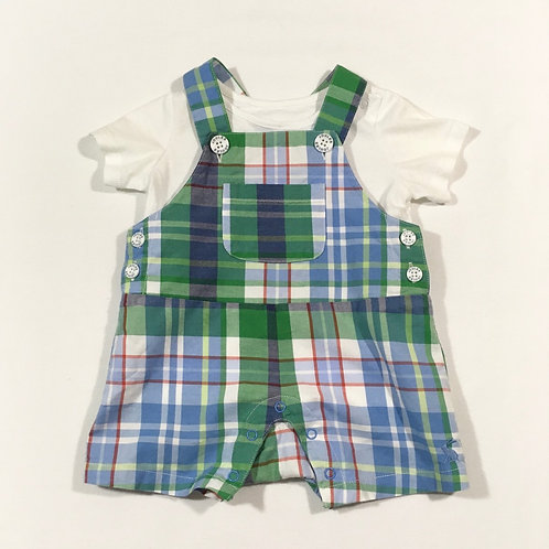 Joules 3-6 months Check Short Leg Dungarees with White T-shirt