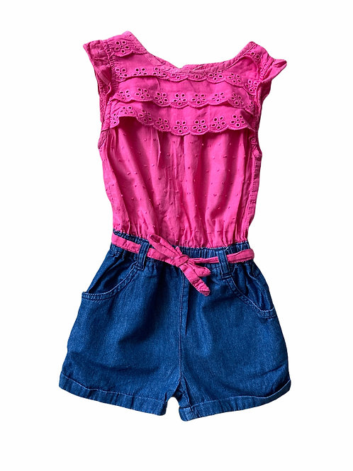 Bluezoo 2-3 years Pink and Denim Playsuit