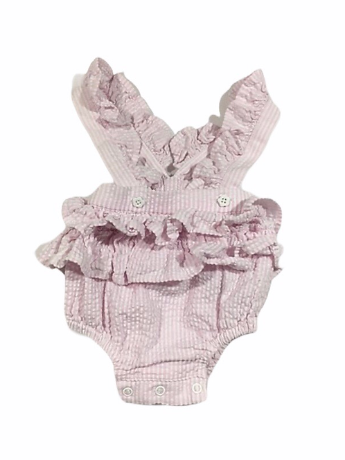 Nutmeg Newborn Pink Gingham Ruffle Bloomer with Straps– Photoshoot Outfit