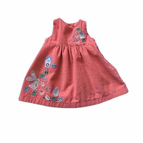 M&S 3-6 months Coral Cord Sleeveless Dress