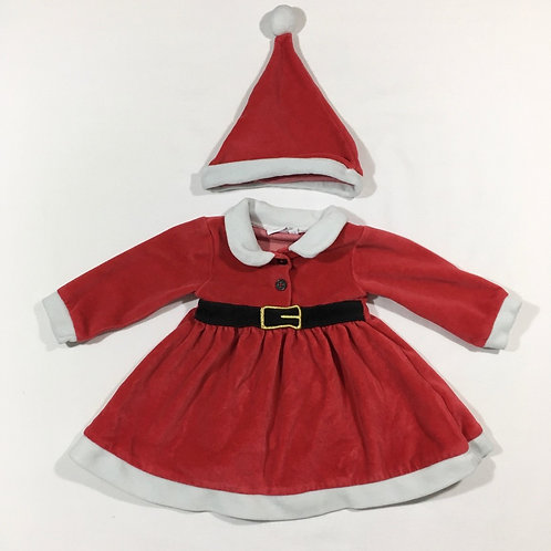 Bluezoo 3-6 months Christmas Dress with Hat (small mark on the back trim)