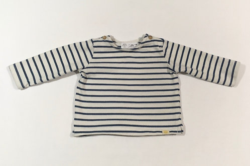 Zara 0-3 months Blue and White Striped Long Sleeve Top