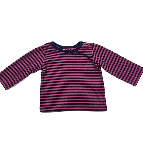 Nutmeg 0-3 months Pink and Navy Striped Long Sleeve Top
