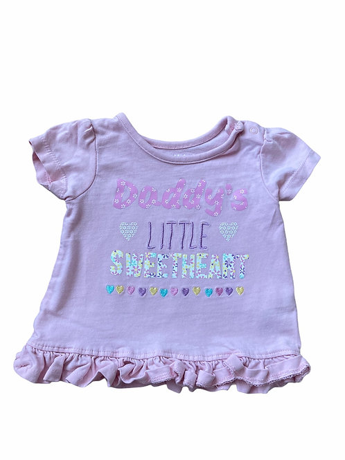 Nutmeg 3-6 months Pink 'Daddy's Little Sweetheart' T-Shirt