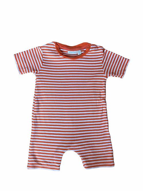 JoJo Maman Bebe 6-12 months Orange and White Striped Short Leg Romper