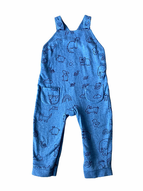 George 12-18 months Blue Animal Dungarees