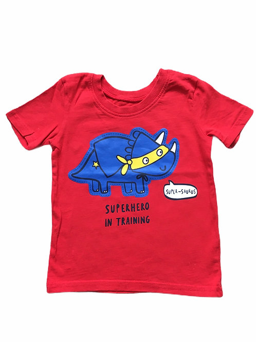 George 9-12 months Red Dinosaur 'Superhero in Training' T-shirt