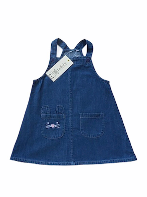 Peacocks 6-9 months Lightweight Denim Pinafore Dress with Rabbit Pocket Detail -