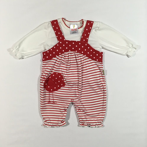 Red and White Newborn Polka Dot and Striped Romper with Long Sleeve White Top