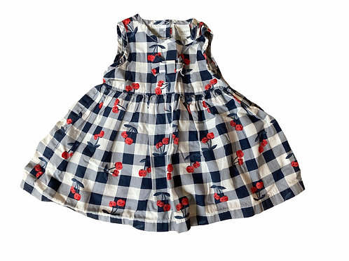 BlueZoo 0-3 months Navy and White Checked Cherry Dress
