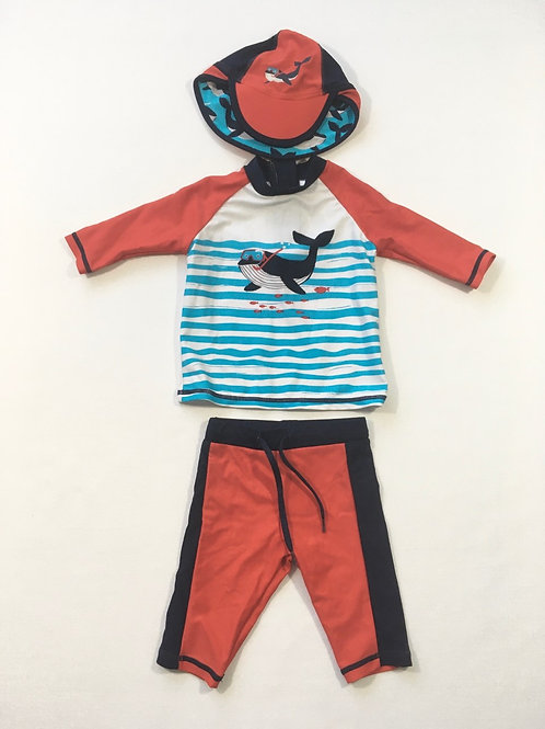 M&S 6-9 months 3 Piece Swimming Set - Hat, Top and Trousers