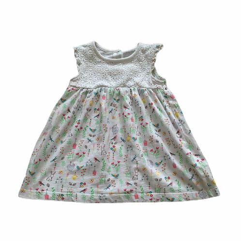 Debenhams 6-9 months White Sleeveless Dress with Animals