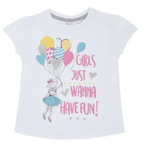 Mini Kidz 5-6 years White 'Girls Just Wanna Have Fun' T-Shirt - BRAND NEW