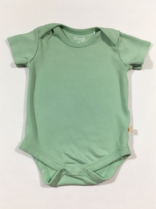 Frugi 0-3 months Pale Green Short Sleeve Bodysuit