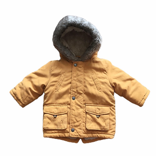 George 6-9 months Mustard Fur Lined Hooded Coat