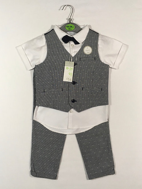 Primark 18-24 months 4 Piece Suit-Waistcoat, Shirt, Trousers & Bow Tie-BRAND NEW