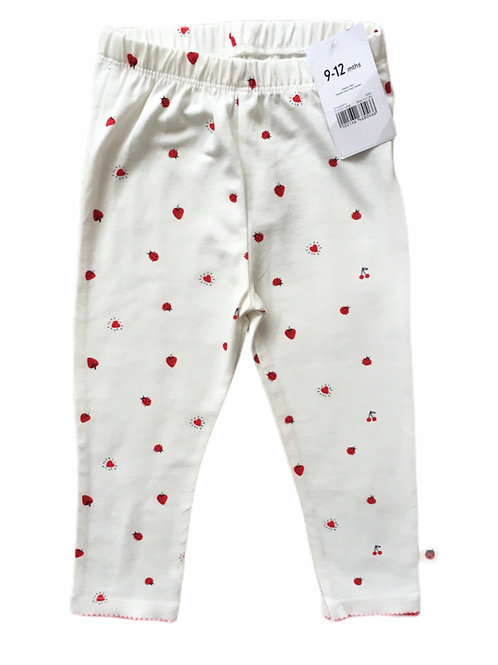 Mothercare 9-12 months Cream Ladybird and Fruit Leggings - BRAND NEW