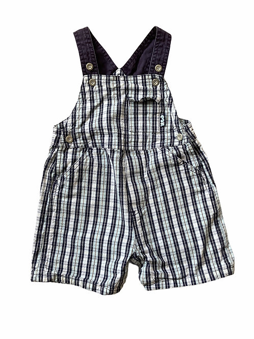 BHS 12-18 months Blue and White Checked Short Leg Dungarees