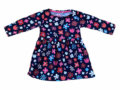 Bluezoo 12-18 months Navy Floral Long Sleeve Dress