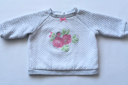 Little Me 3-6 months Grey and White Rose Sweatshirt