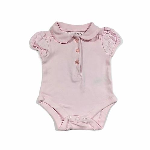 Nutmeg Newborn Baby Pink Short Sleeve Bodysuit with Collar