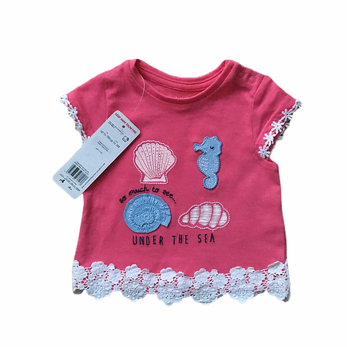 F&F 0-3 months Pink Sea Themed T-shirt - BRAND NEW