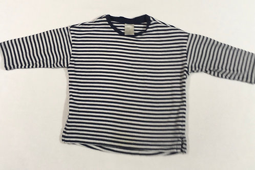 H&M 4-6 months Navy and White Striped Long Sleeve